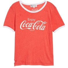 Women's Wildfox Coca Cola Ringer Tee ($98) ❤ liked on Polyvore featuring tops, t-shirts, red tee, red top, wildfox tees, red t shirt and wildfox t shirts