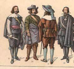 TRAJES Y ARMAS (SIGLO XVII ) DE LA HISTORIA DE ESPAÑA, de 1650 a 1700--     nº .- 9.- Capitan de la armada.- nº 10., 11, Y 12 .- Cortesanos.