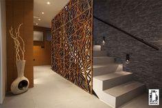 Panneau massif en protection escalier intérieur en métal monobloc aspect Rouille