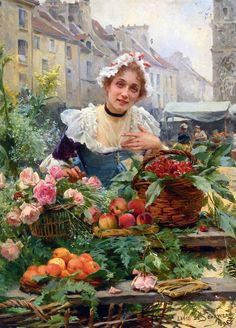 """""""The Flower Seller,"""" 1898 -- by Louis Marie de Schryver (French, 1862–1942)"""