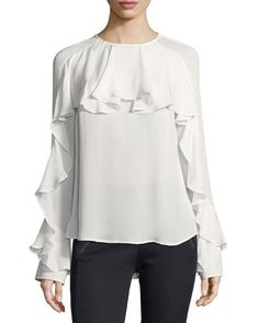 Mia Long-Sleeve Silk Ruffle Blouse by Veronica Beard at Neiman Marcus