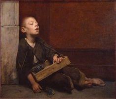 "Fernand Pelez (French, ""A Martyr or The Violette Merchant"" 1885 Art Français, Oil Portrait, Oil Painters, Portraits, Traditional Paintings, Cute Images, Social Issues, Figure Painting, Aesthetic Art"
