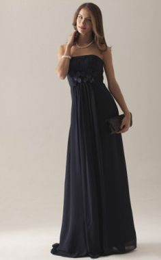 Empire Strapless Floor-length Chiffon Over Satin Bridesmaid Dress. Color: Dark Navy