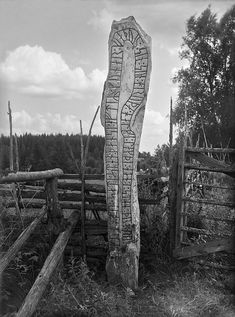 """""""Gunnkel placed this stone in memory of Gunnar his father Rode's son. Helge laid him his brother in a stone coffin in Bath in England"""" is the inscription on the massive """"Nävelsjö Stone"""" - Rune stone Viking Age Sweden Viking Symbols, Viking Runes, Viking Age, Mayan Symbols, Egyptian Symbols, Ancient Symbols, Ancient Art, Ancient History, Vikings"""