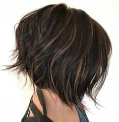 Chopped Brunette Bob With Babylights
