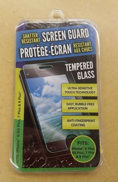 Tempered Glass~Shatter Resistant/Screen Guard for iPhone 6 Plus & 7 Plus Iphone 6, Gift Card Balance, Screen Guard, 7 Plus, Tempered Glass Screen Protector, Cleaning Wipes, Easy, Bubbles, Electronics