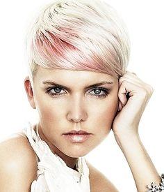 Streak of color in platinum blonde hair