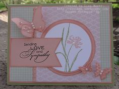 Stamp Set:  Love & Sympathy  Ink:  Pear Pizazz, Blushing Bride, Black StazOn  Paper:  Pear Pizazz, Blushing Bride, Whisper White, Twitterpated DSP  Accessories:  pearls, sponge dauber, Dotted Scallop Ribbon border punch, circle scissors, Beautiful Wings embosslit
