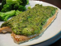 Basil-Avocado Baked Salmon Recipe Main Dishes with fresh basil, garlic, avocado, capers, lemon zest, salmon fillets, coconut oil