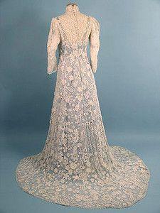 Irish Crochet Trained Wedding Gown, c. 1910