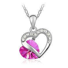 New Popular Crystal Necklace - Peach Heart  Peach China jewelry Cheap Necklace Fashion Jewelry Wholesale