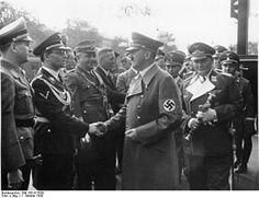 Reich jugendführer Baldur von Schirach meeting Der Führer Adolf Hitler with Reichmarschal Herman Wilhelm Goering in tow