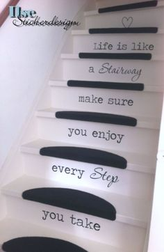 Trapsticker Life is like a Stairway. Source by sarahsturock Wooden Staircases, Modern Staircase, Stairways, Gym Interior, Interior Stairs, Piano Stairs, Basement Movie Room, Basement Apartment, Decorating Stairway Walls