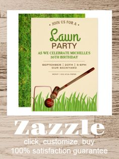 Shop Croquet Backyard Game Lawn Birthday Party Invite created by ShabzDesigns. Personalize it with photos & text or purchase as is! Croquet Party, Lawn Party, Elegant Birthday Party, Kids Birthday Party Invitations, Custom Poker Chips, Garden Party Games, Sports Birthday, Backyard Games, Envelope Liners