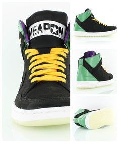 Converse Weapon Mid 'Marvin the Martian' out of the Converse Space Invader Pack. The old school basketball shoes worn by legends like Magic Johnson gets a Space Jam makeover.