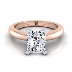 4 Prong Radiant Cut Solitaire Engagement Ring With Petite Modern Knife Edge Shank In Rose Gold Radiant Cut Engagement Rings, Solitaire Engagement, Diamond Solitaire Rings, Shank, Rose Gold, Jewelry, Modern, Yellow, Princess