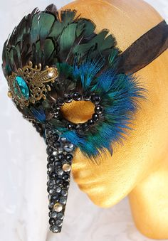 Jeweled Paper Mache Hummingbird Masquerade Mask by DaraGallery, $76.00