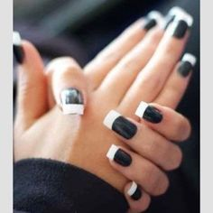 Black manicure with white French tip, kinda cute in a way! Get Nails, Love Nails, How To Do Nails, Hair And Nails, Prom Nails, Fabulous Nails, Gorgeous Nails, Pretty Nails, French Pedicure