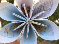 Large Origami Map Flower With Stamens Stem by GracelinePaperStudio, $5.00