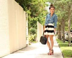 Chambray Top & Striped Skirt