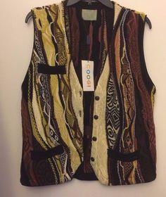 Vintage COOGI Australia Men's Knit Sweater Vest Button Front Fall Colors Size M  #COOGI #Vest