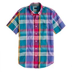 Indian Cotton Short Sleeve Shirt in Sunset Plaid