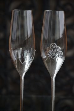 Silver Wedding Glass King and Queen crown Handmade Flutes