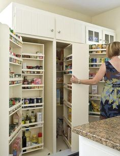 This amazingly space-efficient pantry has shelves that swing out to save you space and time—you'll never have to fight to find room for your baking supplies ever again!