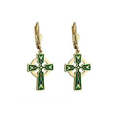 c32cf665e Celtic Cross Earrings Dangle Gold Plated Green Irish Made >>> Visit