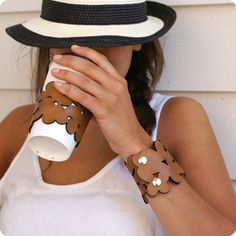 cozy cuff - leather or felt arm cuff that doubles as coffee cup sleeve