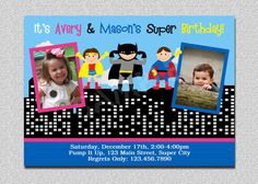 Kids superhero and supergirl joint birthday party invitation superhero birthday invitation twins by thetrendybutterfly on etsy 1500 filmwisefo