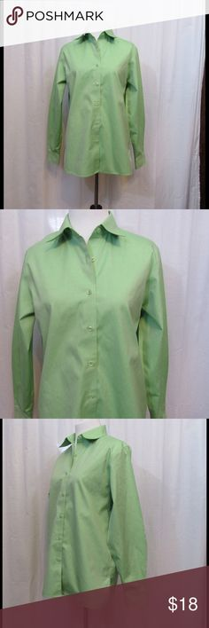 "Foxcroft Wrinkle Free Green Career Shirt Top 4 Size: 4 Material: 100% Cotton  Care Instructions: Machine Wash  Bust: 38"" Sleeves: 23"" Length: 26""  All clothes have been inspected and are in excellent used condition unless otherwise noted. Foxcroft Tops Button Down Shirts"