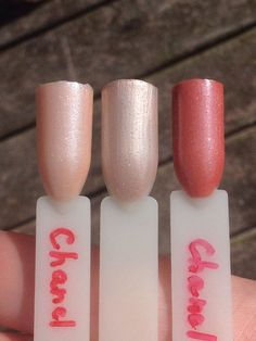 A comparison (L-R) of Chanel 139 Rose Tourbillon, Chanel 77 Rose Camelia, Chanel 137 India. 139 is more rose and with finer silver shimmer while 77 is leaning nude with bigger silver shimmer