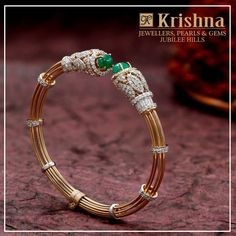 Diamonds are the girls best friend and Krishna twin emeralds with the sparkling embodiment of faceted diamonds in the bracelet is the perfect choice. walk into store Krishna Jewellers Pearls Gems in Jubliee Hills Hyderabad . Plain Gold Bangles, Gold Bangles Design, Gold Jewellery Design, Diamond Jewellery, Diamond Bracelets, Gold Bangle Bracelet, Ankle Bracelets, Bracelet Designs, Jewelry Collection