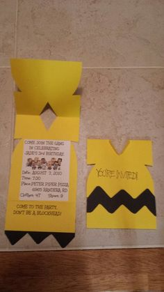 Charlie Brown invitations for a Peanuts theme party.