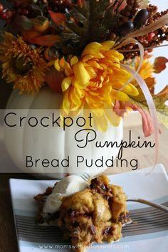 Crockpot Pumpkin Bread Pudding is the perfect fall dessert. Delicious and oh so easy, it is a must for a cool fall day.