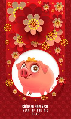 Chinese new year of the pig 2019 vector free vector file ~ vectorkh Chinese New Year Greeting, Happy Chinese New Year, Chinese New Year Pictures, Free Vector Files, Vector Free, Cny Greetings, Chinese New Year Activities, Happy New Year Gif, Chinese New Year Decorations