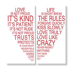 Love is Kind 2 Piece Textual Art Set