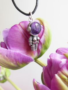 "Silver Pendant with Amethyst ""Woman Astronaut"" Astronaut Necklace"