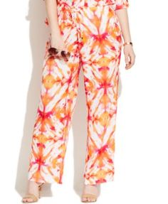 Calvin Klein Plus Size Printed Wide-Leg Soft Pants