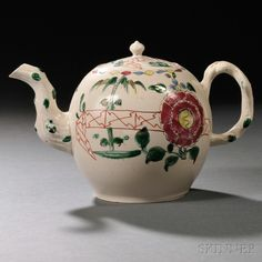Staffordshire Salt-glazed Stoneware Teapot and Cover, England, c. 1750, globular with molded crabstock handle and spout, polychrome enamel decorated in the Peony and Fence pattern, lg. 7 3/4, ht. 4