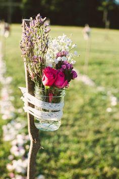 Pink and Gold DIY Farm Wedding, mason jars aisle decor, flowers decor for summer wedding #2014 Valentines day wedding #Summer wedding ideas www.dreamyweddingideas.com