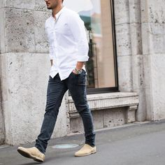The basic must white shirt jeans and #chelseaboots by @sandro [ http://ift.tt/1f8LY65 ]