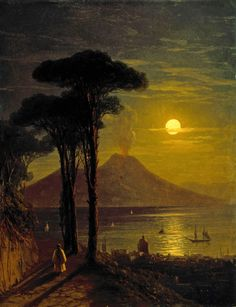 Ivan Konstantinovich Aivazovsky (1817–1900) Neapolitan Bay in Moon Night. Vesuvius. Early 1840 Oil on canvas. 26 x 20 cm The State Russian Museum, St. Petersburg Accession number: Ж-1200