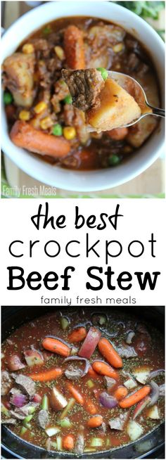 The Best Crockpot Beef Stew - FamilyFreshMeals. Crock Pot Recipes, Sopa Crock Pot, Crock Pot Slow Cooker, Crock Pot Cooking, Slow Cooker Recipes, Cooking Recipes, Healthy Recipes, Soup Recipes, Easy Recipes