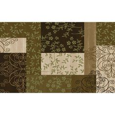 """Style Selections 2'3"""" x 3'9"""" Collage Brown Accent Rug"""