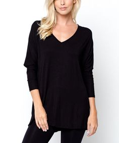 Another great find on #zulily! Black V-Neck Tunic #zulilyfinds