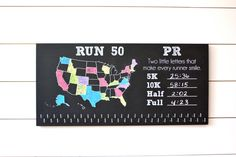 Run 50 States Medal Holder with PR list and 50 hooks  *** Chalkboard***