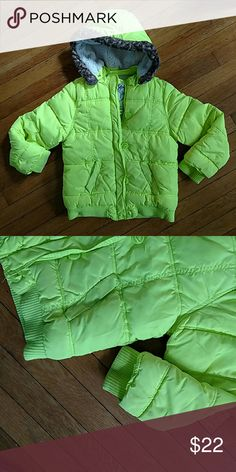 Justice bright neon yellow winter coat Good condition. Some wear on sleeves. Size 10 Justice Jackets & Coats