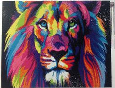 Алмазная мозаика «Радужный лев»